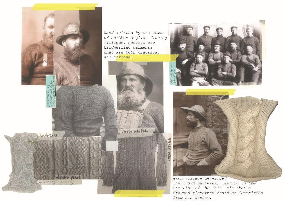 Initial research for the fishermen's ganseys, using Frank Sutcliffe's portraits. The focus is on the unique placements of cables and moss stitch.