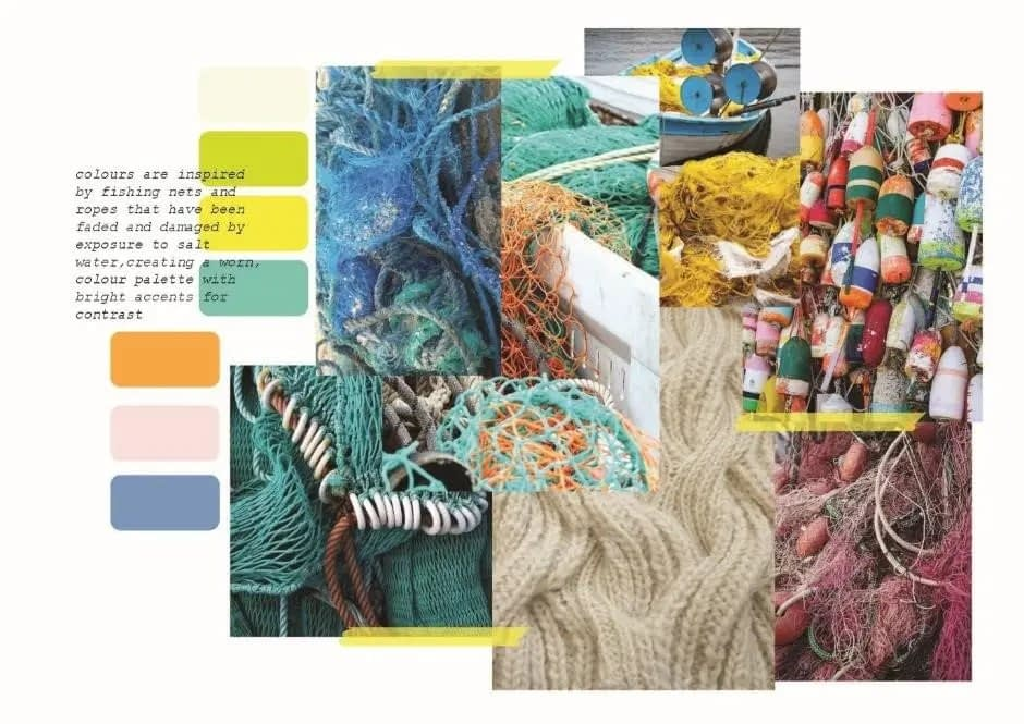 Colours are influence by fishing nets and ropes, but rather than using bold/neon colours, the colours are reimagined as if they were sunbleached, creating a pastel palette.